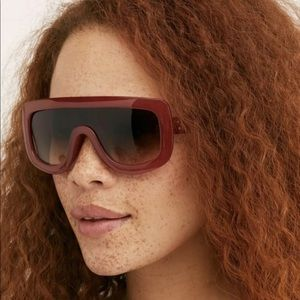 Free People Sunglasses Shield Rosy Brown Brown Len